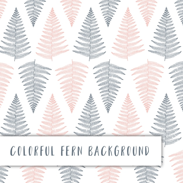 Colorful pattern with fern illustrations Free Vector