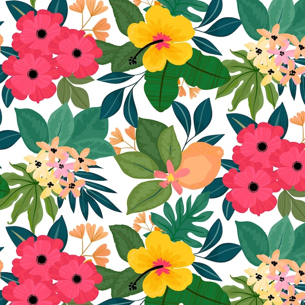 Colorful pattern with flowers Free Vector