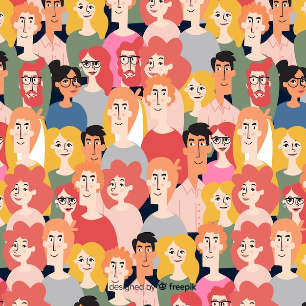 Colorful pattern of young people Free Vector