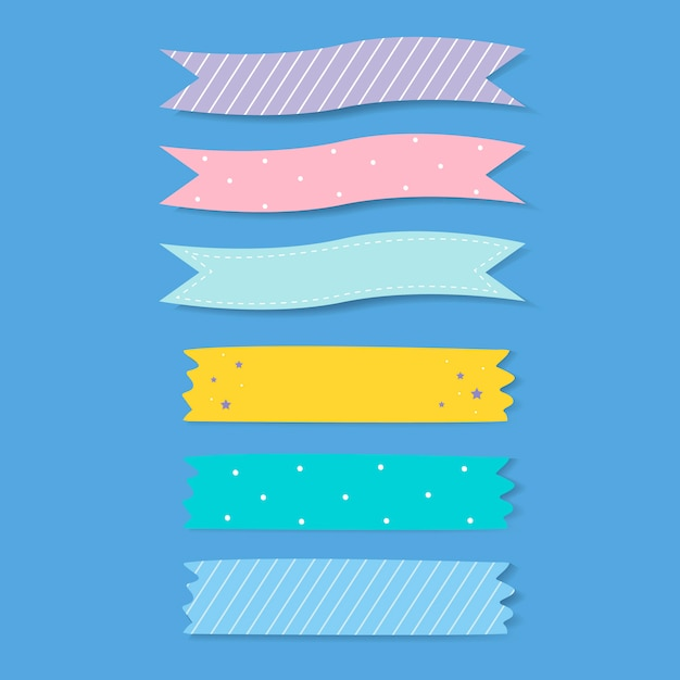 Colorful patterned adhesive tape vector set Free Vector