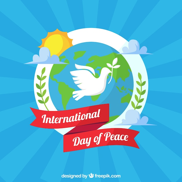 Colorful peace composition with dove, world adn\ ribbon