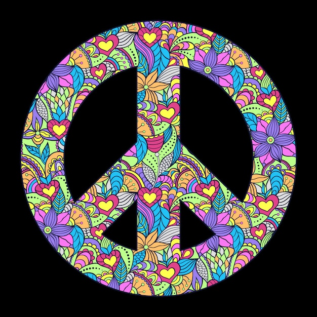 Colorful peace symbol on black background Premium Vector