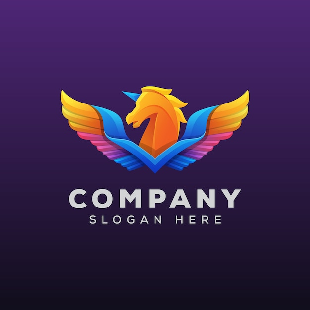 Colorful pegasus or horse logo Premium Vector