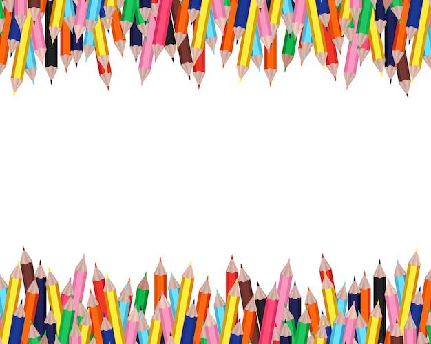 白地にカラフルな鉛筆フレーム 無料ベクター
