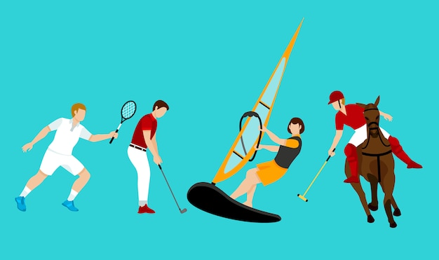 Colorful people activities set Free Vector