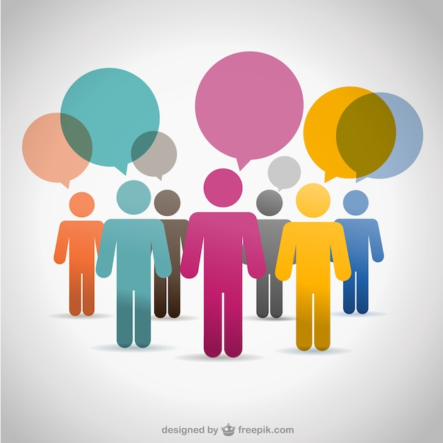 Colorful people communicating with speech bubbles Free Vector