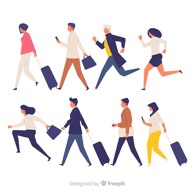 Colorful people in a hurry set Free Vector