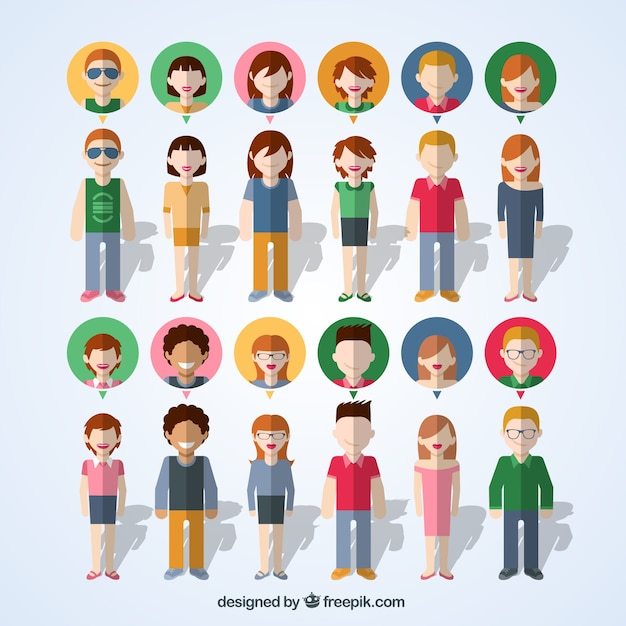 Colorful people icons Free Vector