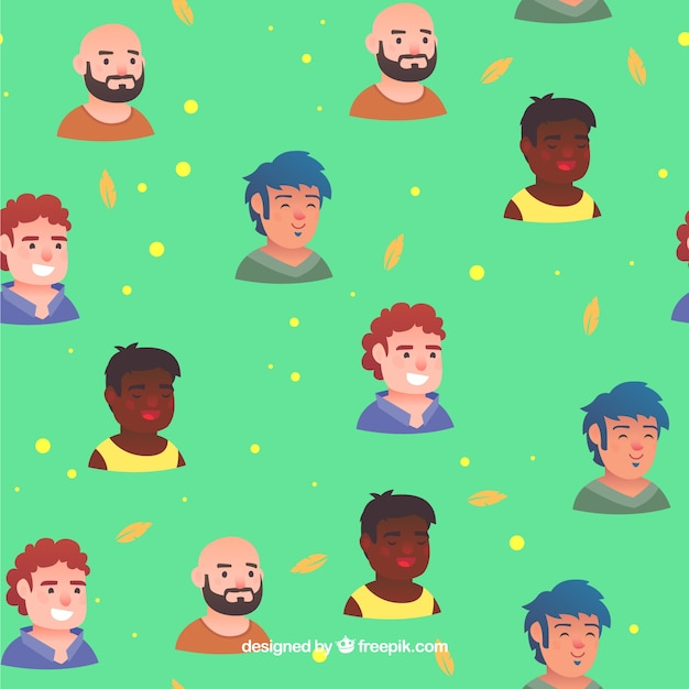 Colorful people pattern with flat design Free Vector