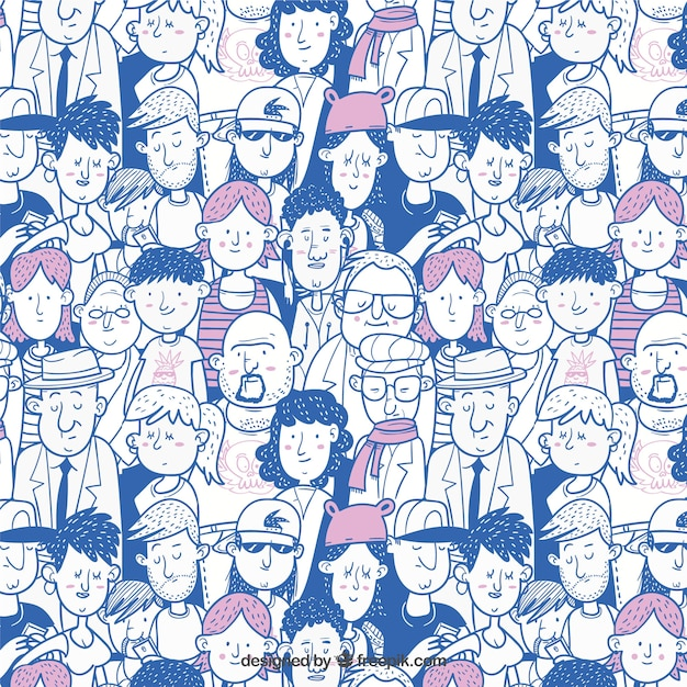 Colorful people pattern with hand drawn style Free Vector