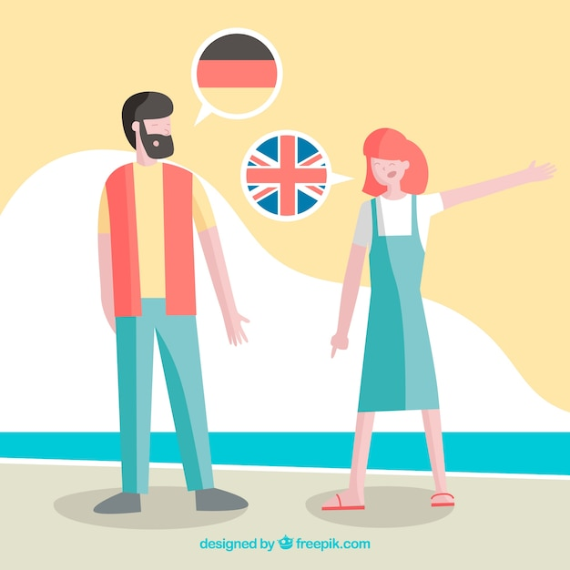 Colorful people speaking different languages with flat design Free Vector