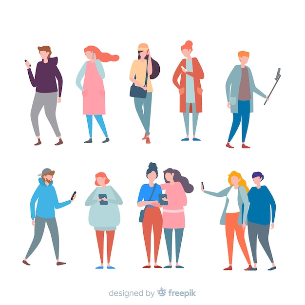 Colorful people with mobile Free Vector