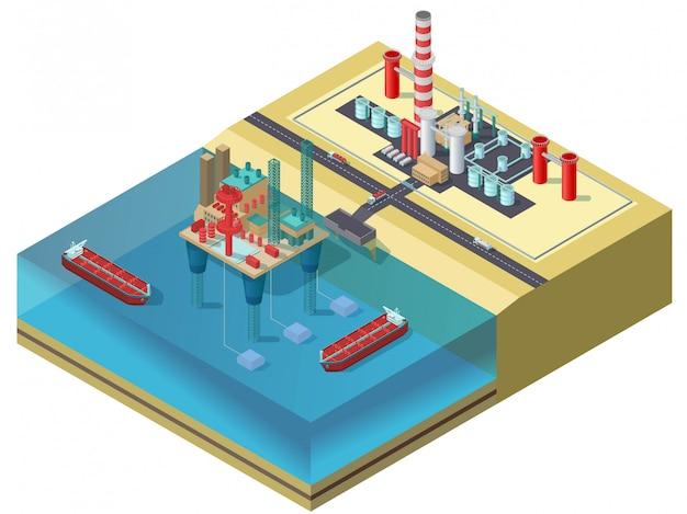 カラフルな石油産業等尺性概念 無料ベクター