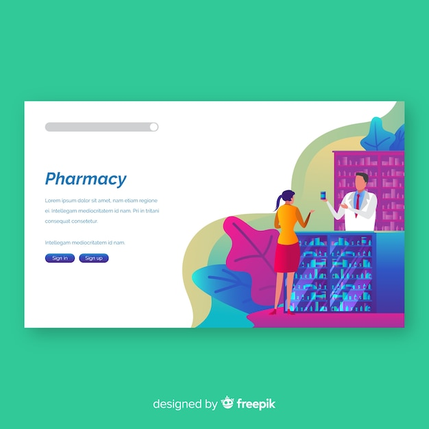Colorful pharmacy landing page Free Vector