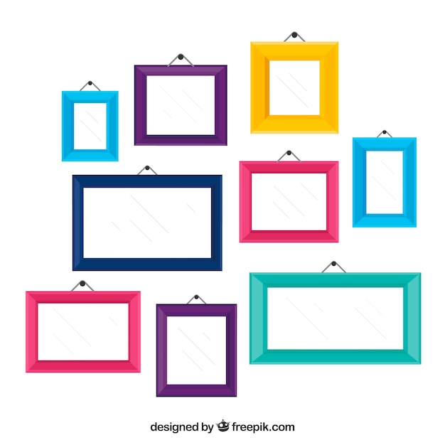 Colorful photo frame collage with flat design Free Vector