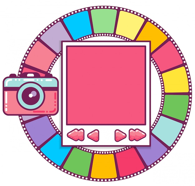 Colorful photo frame Premium Vector