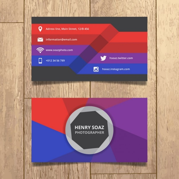 Colorful photographer business card vector free download colorful photographer business card free vector reheart Image collections