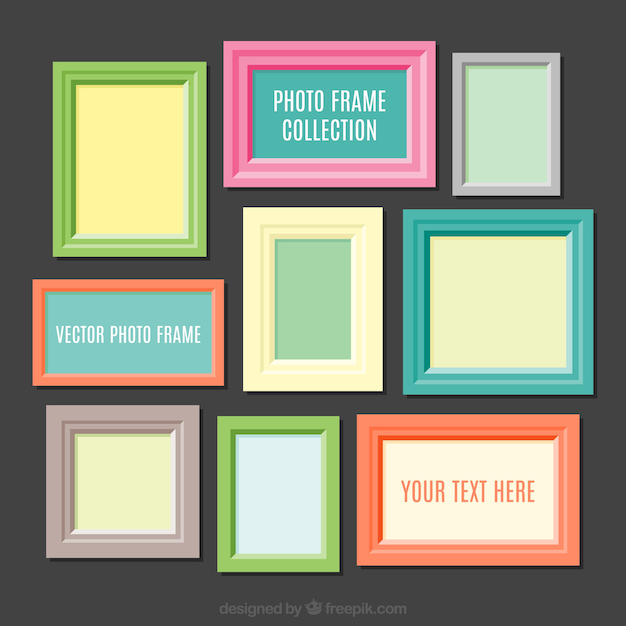 Colorful photography frames collection Free Vector