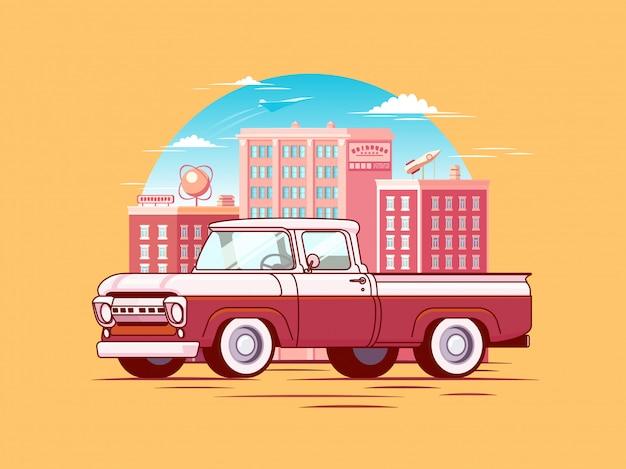 Colorful pickup car template Premium Vector