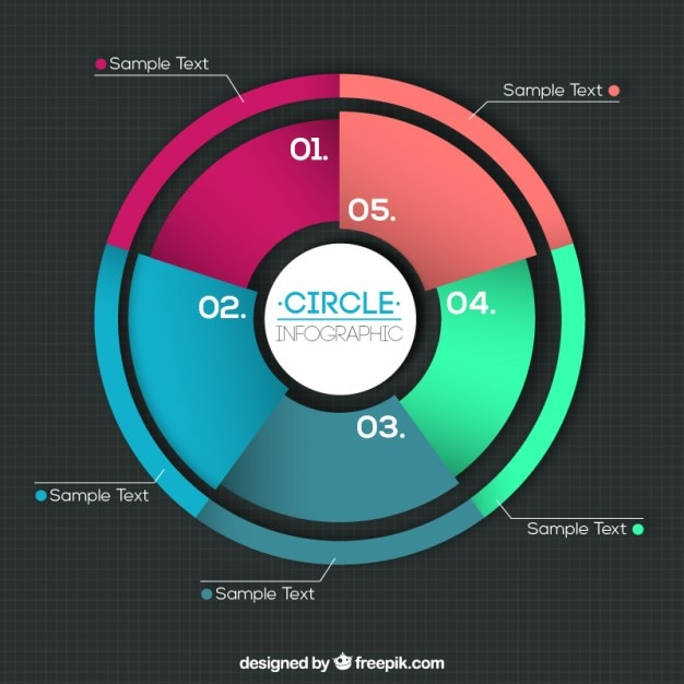 Colorful pie chart Free Vector