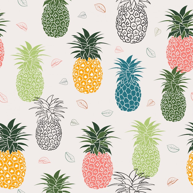 Colorful pineapple with leaves seamless pattern Premium Vector