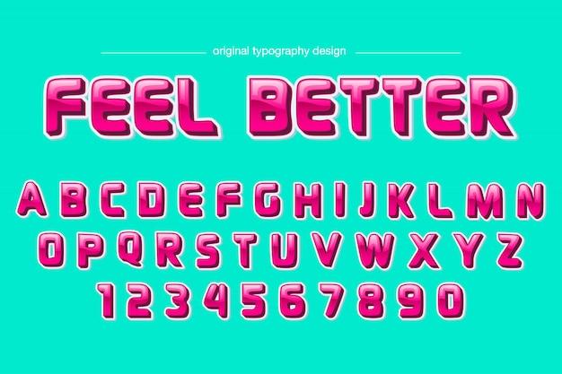 Colorful pink comic typography design Premium Vector
