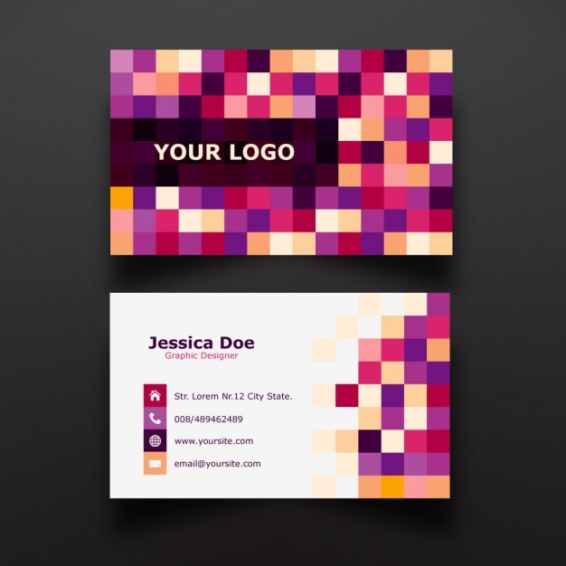 Colorful pixel business card design vector free download colorful pixel business card design free vector colourmoves