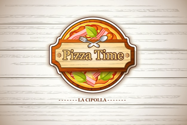 Красочная этикетка пиццы каприччиоза с ингредиентами помидоров, сыра, оливкового перца на деревянной иллюстрации Бесплатные векторы