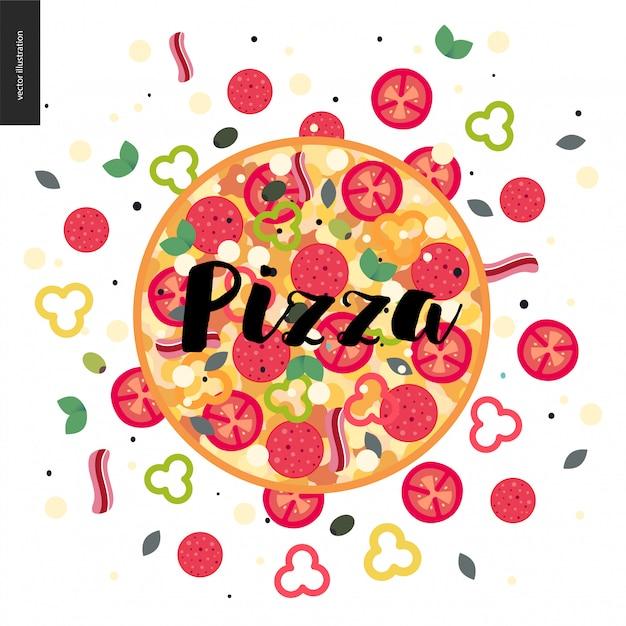 Colorful pizza Premium Vector