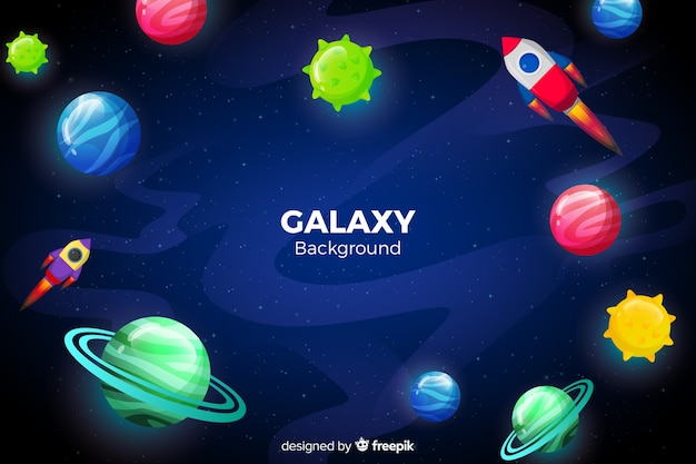 Colorful planets galaxy background Free Vector