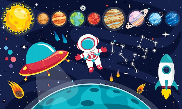 Colorful planets of solar system Premium Vector