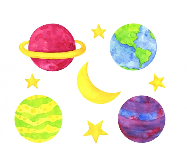 Разноцветные планеты, желтые звезды и луна. детская акварельная иллюстрация. Premium векторы