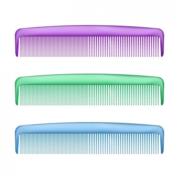 Colorful plastic combs set Free Vector