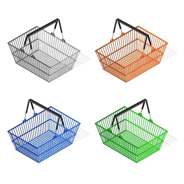 다채로운 플라스틱 쇼핑 바구니 세트. 구매자를위한 장비. 프리미엄 벡터