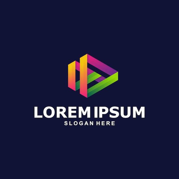 Colorful play media logo template Premium Vector
