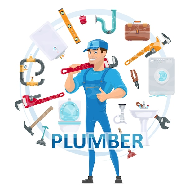 Colorful plumbing round composition Free Vector