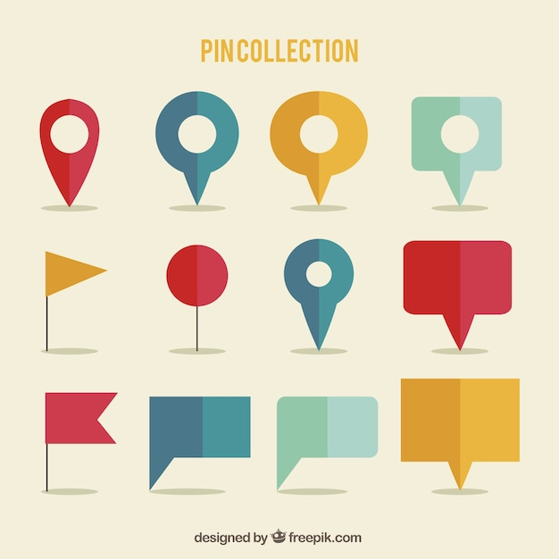 Colorful pointers with different shapes Free Vector