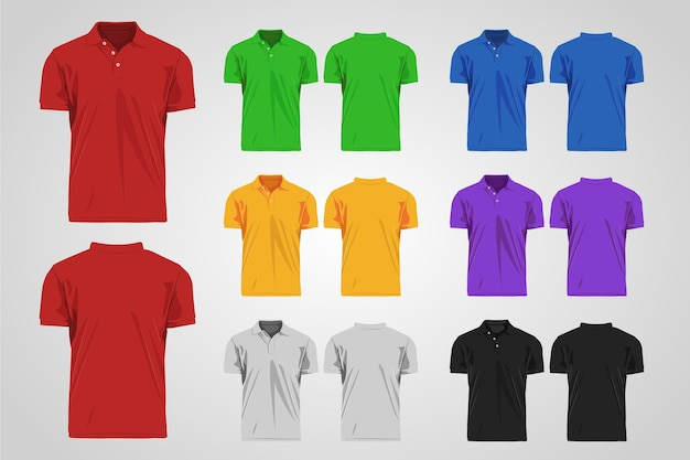 Colorful polo shirt collection front and back Free Vector
