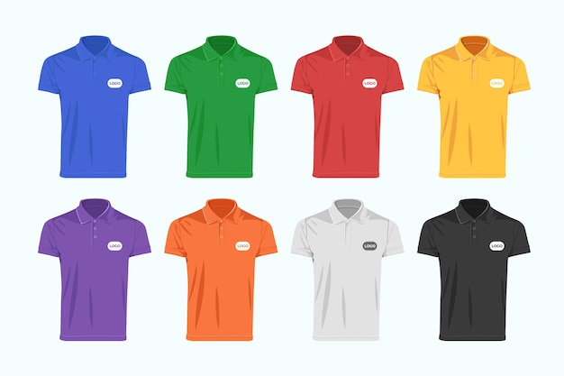 Colorful polo shirt collection Free Vector