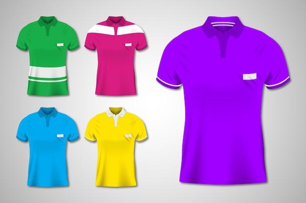 Colorful polo shirt illustrations set Free Vector
