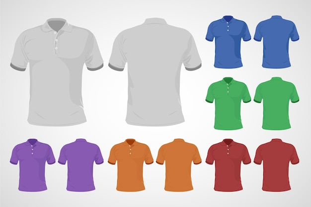 Colorful polo shirt set front and back Free Vector