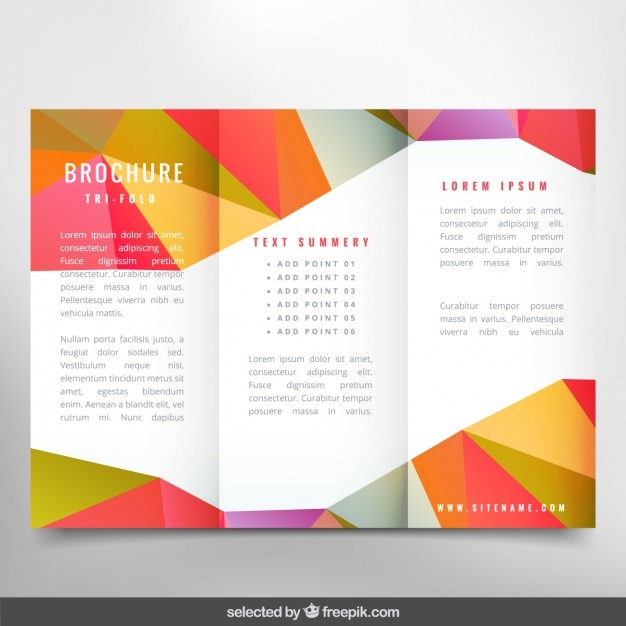 Colorful polygonal brochure vector free download for Colorful brochure