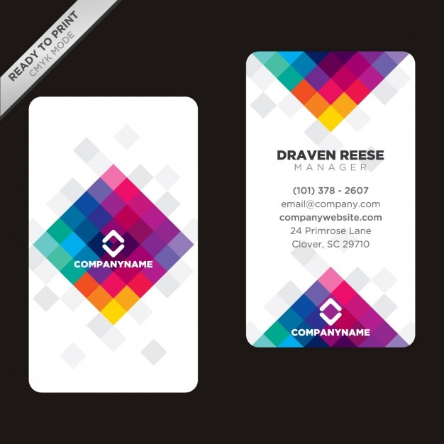 Colorful polygonal business card Free Vector