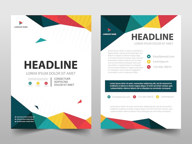 Colorful polygonal cover template Premium Vector