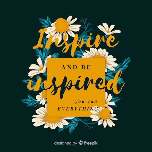 Colorful positive message with flowers Free Vector