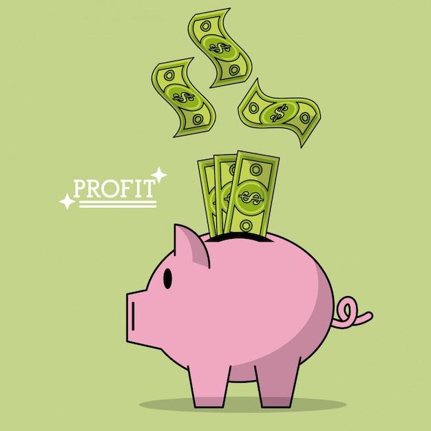 ピンクの銀行に落ちるお金の法案と利益のカラフルなポスター Premiumベクター