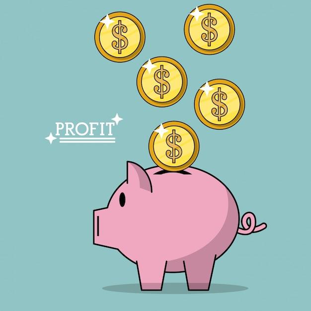 ピンクの銀行に落ちるお金のコインと利益のカラフルなポスター Premiumベクター