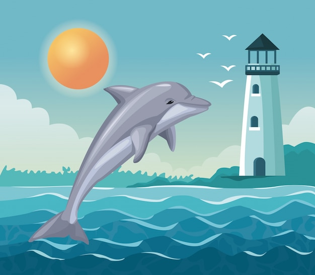 Colorful poster seaside with dolphin jump and lighthouse in coast Premium Vector