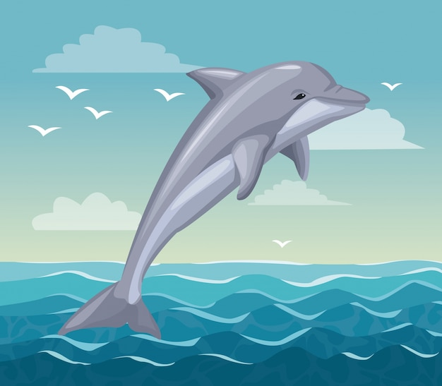 Colorful poster seaside with dolphin mammal in ocean Premium Vector