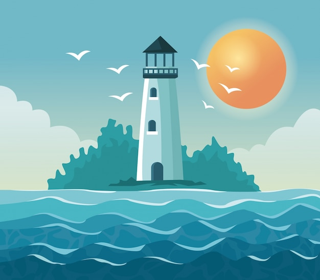 Colorful poster seaside with lighthouse in coast with sun in the sky Premium Vector